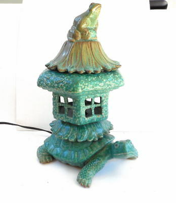 Vintage Asian Glazed Lantern Lamp w/ Turtle & Frog Figures Pagoda Verdigris