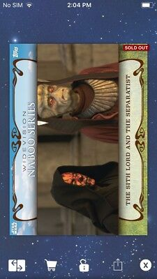 Topps Star Wars Digital Card Trader Sith Lord Naboo Widevision Insert
