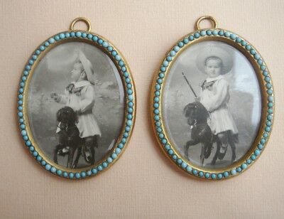 Old French Antique Pair Ormolu Brass Turquoise Oval Photo Miniature Frame 1870