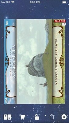 Topps Star Wars Digital Card Trader Ancient Artifacts Naboo Widevision Insert