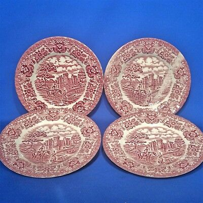 """British Anchor 4 x Large Side Plates (7"""") - Olde Country Castles (Pink, Red)"""