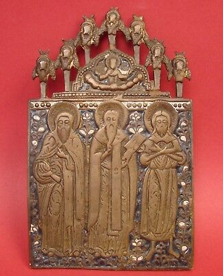 "ORIGINAL Antique Russian Orthodox Icon THREE SAINTS Bronze & Enamels 4x6.5"" NICE"