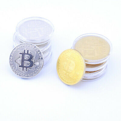 Bitcoin Coin Collectors Item BTC Round Physical Gold Silver Plated Gift Currency