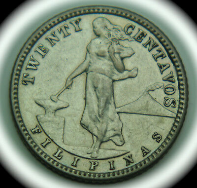 1907 Philippines 20 Centavos KM# 170 Silver Coin - No Reserve!