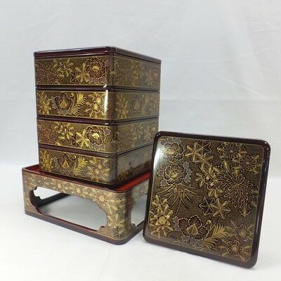 A858: High-class Japanese tier of lacquered boxes JUBAKO with wonderful CHINKIN