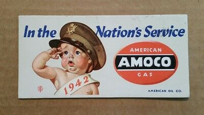 """""""In The Nation's Service"""" AMOCO American Gas Ink Blotter,1942"""
