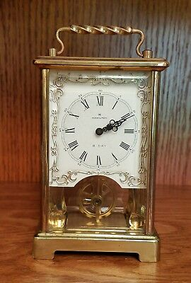 Vintage HAMILTON 8 DAY CARRIAGE CLOCK OPEN ESCAPEMENT GERMANY WORKING 2 JEWELS
