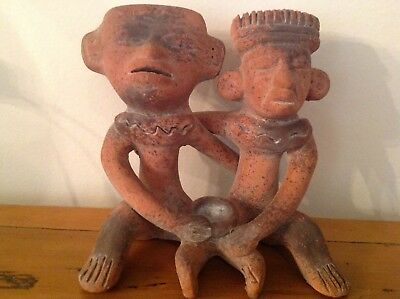 Vintage Pre-Columbian Mayan Aztec Mexican Folk Art Pottery / Clay 2 Figures
