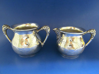 Antique Vintage Silverplated Repousse Sugar & Creamer New Amsterdam