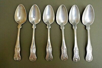 Set of 6 Coin Silver Spoons Shell Handles by George Howe New York and 3 Others