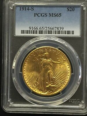 1914-S $20 Twenty Dollar Saint Gaudens Gold Coin PCGS MS65