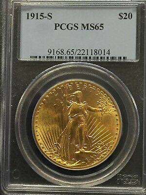 1915-S $20 Twenty Saint-Gaudens Gold Coin PCGS MS65