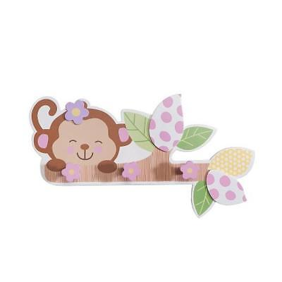 """Babies""""R""""Us 4946 Pink Wooden Baby Girl Monkey Wall Decor 17.5 x 9.6 In BHFO"""