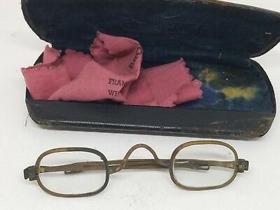 Vintage Antique Childs Brass Eyeglasses Spectacles with Case