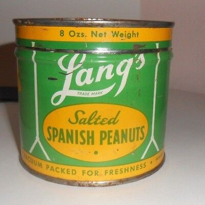"""Vintage Lang's Fancy Nuts-""""Salted Spanish Peanuts"""" 8 Oz Advertising Tin=Seattle"""