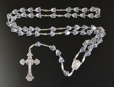 Sparkling VINTAGE CUT CRYSTAL Rosary on STERLING SILVER NR