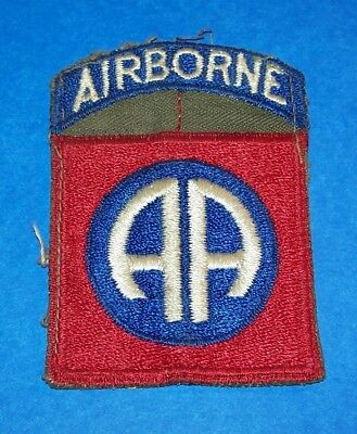 ORIGINAL CUT-EDGE WW2 82nd AIRBORNE DIVISION PATCH + INTEGRAL TAB ON OD TWILL!