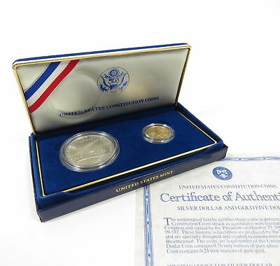 UNITED STATES CONSTITUTION US MINT COMMEMORATIVE $5 GOLD and $1 SILVER COIN SET
