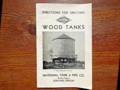 Old National Tank & Pipe Co Directions For Erecting Wood Water Tank Manual Read!