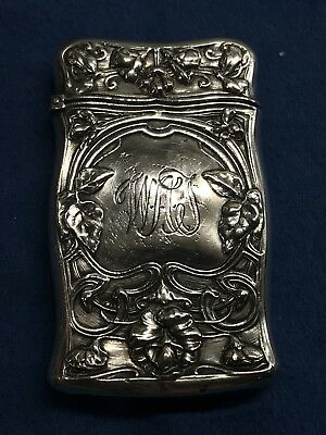 Antique Gorham Sterling Silver Repousse Match Safe Vesta Box Ornate Flowers