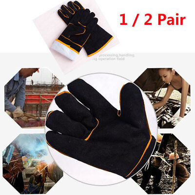 1/2 PAIRS Welding Gloves High Temperature Leather Protection Welder Hands