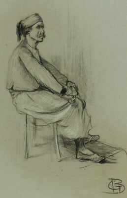 G.B. Monogram - Early 20th Century Charcoal Drawing, Portrait of a Man Seated