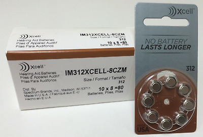 Buy 3 Get 1 Free ** Rayovac Xcell size 312 A312 Hearing Aid Batteries 8-pk 1.45V