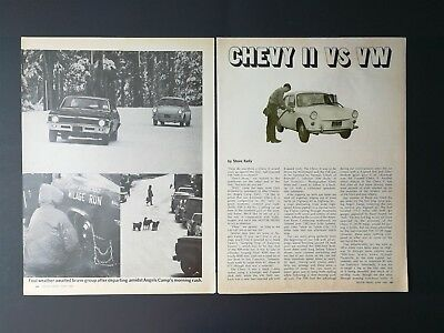 Vintage 1968 Chevrolet Chevy II vs VW 1600 Original 4 Page Article Free Shipping