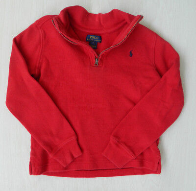 Polo Ralph Lauren Boy Long Sleeve 1/4 Zip Pullover/sweater Size 7 Cotton Red