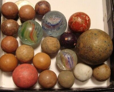 20 Old Marbles Glass Multicolor Swirls Vintage Clay Antique Germany Shooter Nice