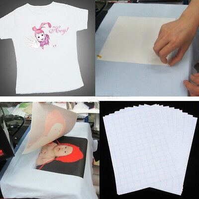 KQ_ 5 Pcs T-Shirt A4 Transfer Paper Iron On Heat Press Fabrics Inkjet Print Eyef