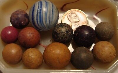 15 Antique Vintage Marbles Clay Sweet Germany Blue Glass Onionskin Swirl