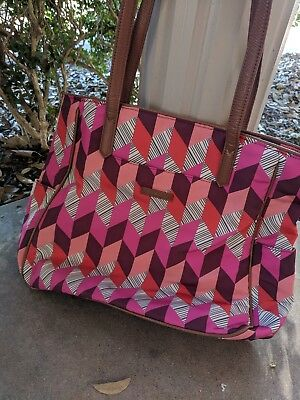 Vera Bradley Preppy Poly Zip Top Tote, medium with leather trim