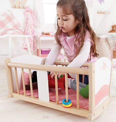 NEW Hape Rock-A-Bye Baby Cradle - Kids Girls Wooden Dolls Wood Rocking Bed Doll