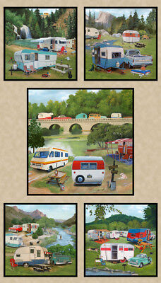 NEW Retro Caravans Vintage Trailer Camping Holidays Quilting Fabric Panel