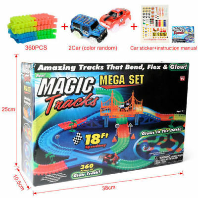 360PCS MAGIC TRACKS Rennbahn leuchtet im Dunkeln RACE CAR Bend Flex Racetrack