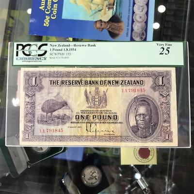 New Zealand 1934 £1 One Pound Lefeaux Banknote Graded PCGS VF25 P#155