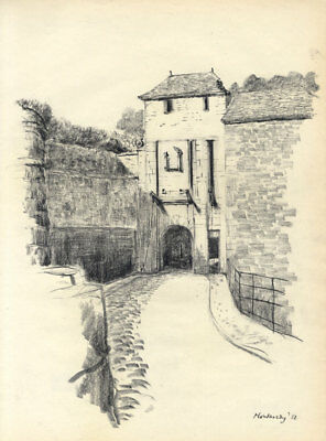 Austin Blomfield - 1958 Charcoal Drawing, Montmedy