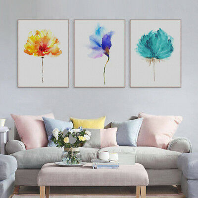 Modern Watercolor Plant Canvas Art Print Poster Flower Painting Wall Picture New