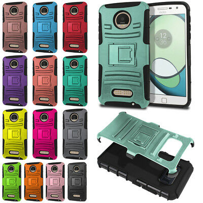 For Motorola Moto Z Play Droid XT1635 Solid Color Hybrid Armor Stand Case Cover
