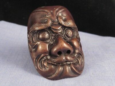 Japanese Antique Metal Demon Konron Miniature Copper Noh Mask Netsuke