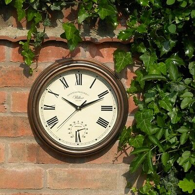 """12"""" Willow Clock Copper Effect Wall Clock + Thermometer Indoor Outdoor  Gclock13"""