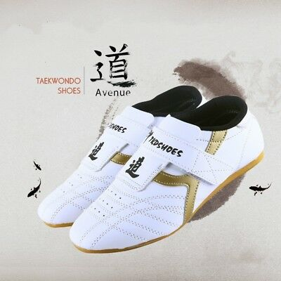 Children Men PU Taekwondo Shoes Martial Arts Chinese Kung Fu Tai Chi White Soft
