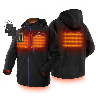 Men Heated Jacket Hood with Battery Pack Motocycle Heating Coats Outdoor Work
