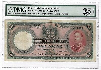 1938 Fiji 1 Pound, PMG 25 VF, P-39b, Rare Second Date of Issue, First Portrait