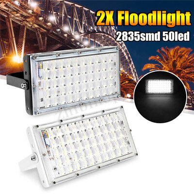 2X 50W LED Flood Light Waterproof Outdoor Garden Landscape Sopt Lamp AC185-265V