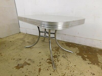 Original Retro 1950s Ice Crackle Top Chrome Kitchen Table w Leaf Mid Century Mod
