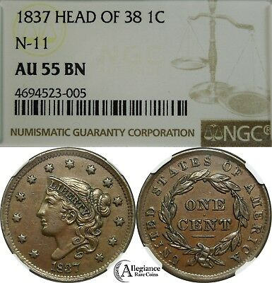1837 1c Coronet Head Large Cent NGC AU55 N-11 Head of 38 (1838) rare old coin