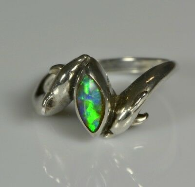 Vintage Solid Crystal Opal ring, Dolphin, Sterling Silver,Australian Opal, Gift