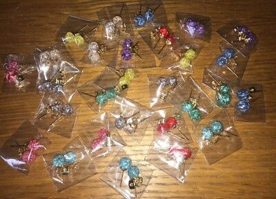 10 x Pairs Mixed Colour Sparkly Earrings Wholesale Joblot Jewellery UK Seller :)